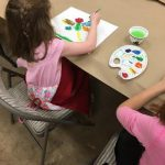 Children painting with water colors.
